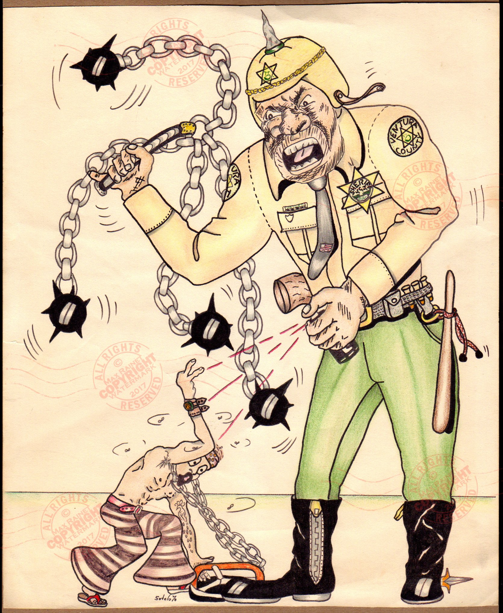 Chicano Fear of Authority by Sotelo 1970 : Original OUTSIDER ART (An original drawing depciting police / sheriff brutality in Ventura County, prison cartoon sketch, artist unknown)