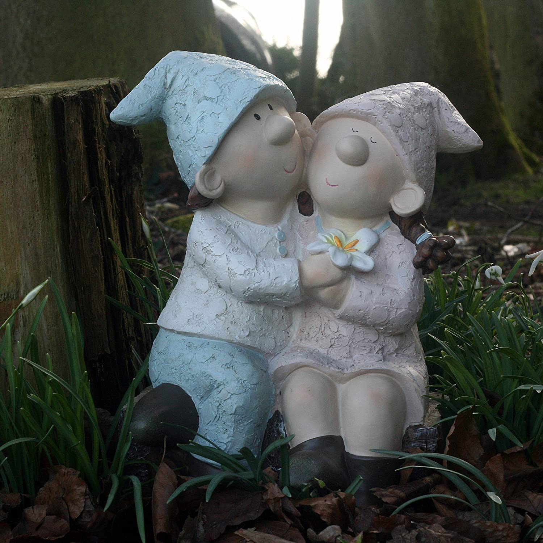 Bill and Beryl hugging on a log, Elves, Garden Ornament, Gnome, Garden Fairy, Troll, Imp B Flame Homeware