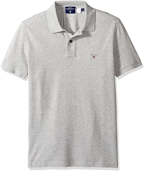 Gant Men's Classic Short-Sleeve Piqué Polo, Light Grey Melange, ...