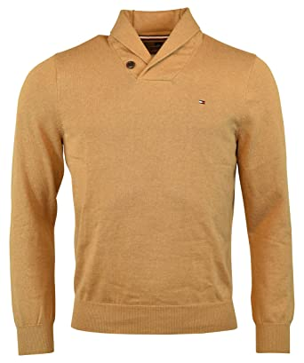 4f2bba7650e8 Tommy Hilfiger Mens Springfield Knit Ribbed Trim Shawl-Collar Sweater at  Amazon Men's Clothing store: