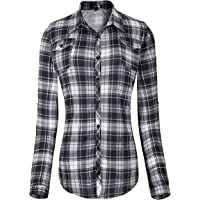 Urban CoCo Women's Classic Plaid Shirt Button Down Long Sleeve Blouse