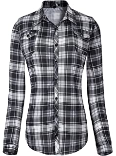 5ee97555e5c959 Zeagoo Womens Flannels Long/Roll Up Sleeve Plaid Shirts Cotton Check ...