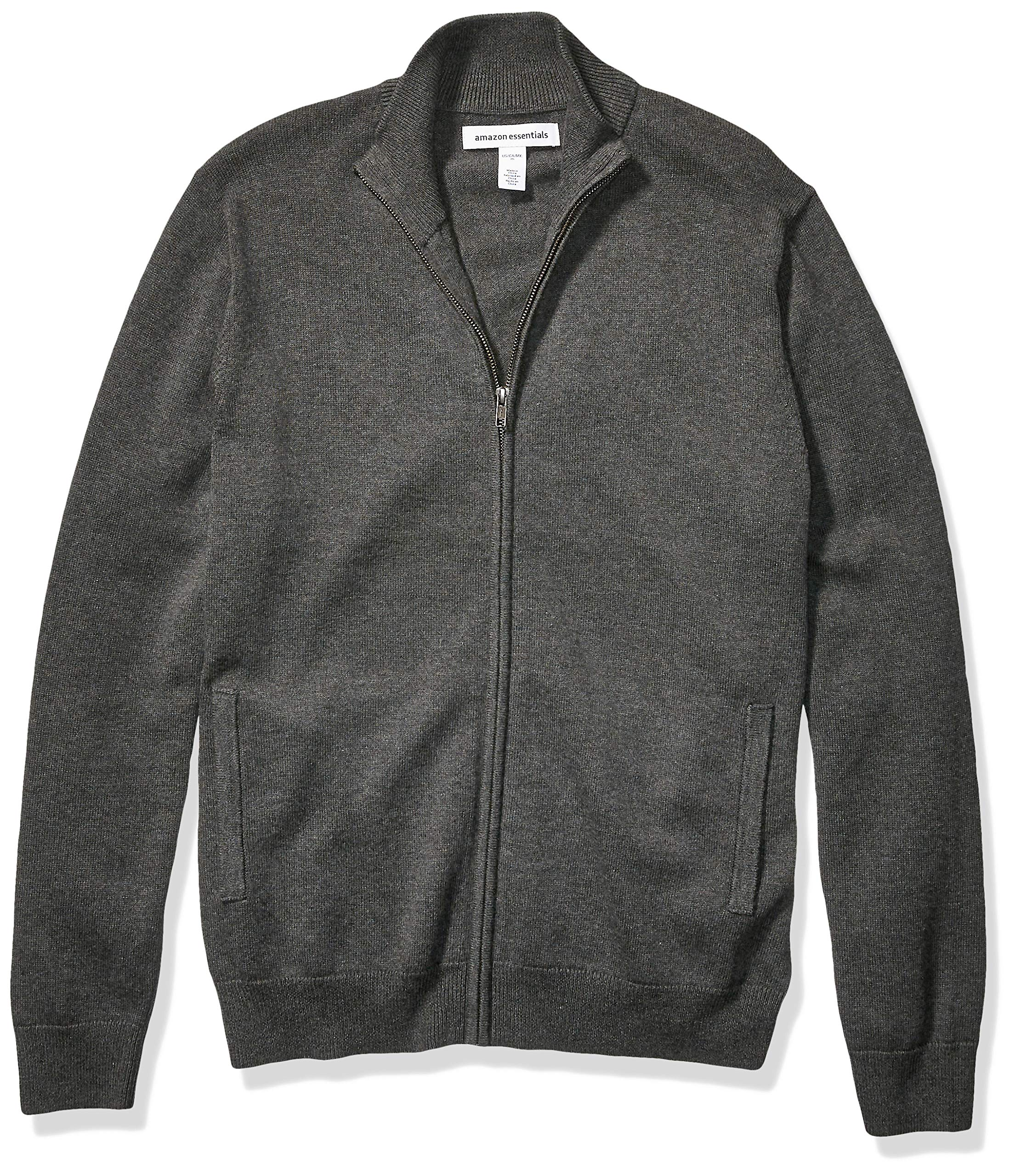 Amazon Essentials Men's Cotton Full-Zip Sweater, Charcoal Heather, X-Large by Amazon Essentials