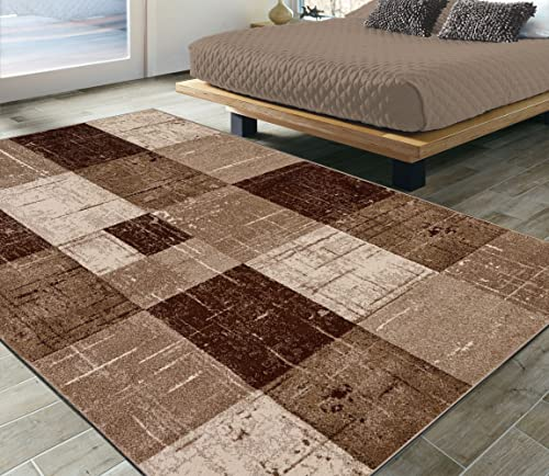 Ottomanson City Collection Modern Area Rug Contemporary Geometric Rug-5×7 5'3″ x 7'