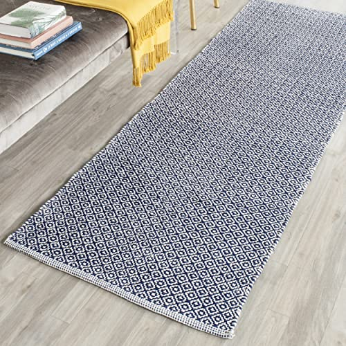 Safavieh Montauk Collection MTK717H Handmade Flatweave Ivory and Navy Cotton Runner 2 3 x 7