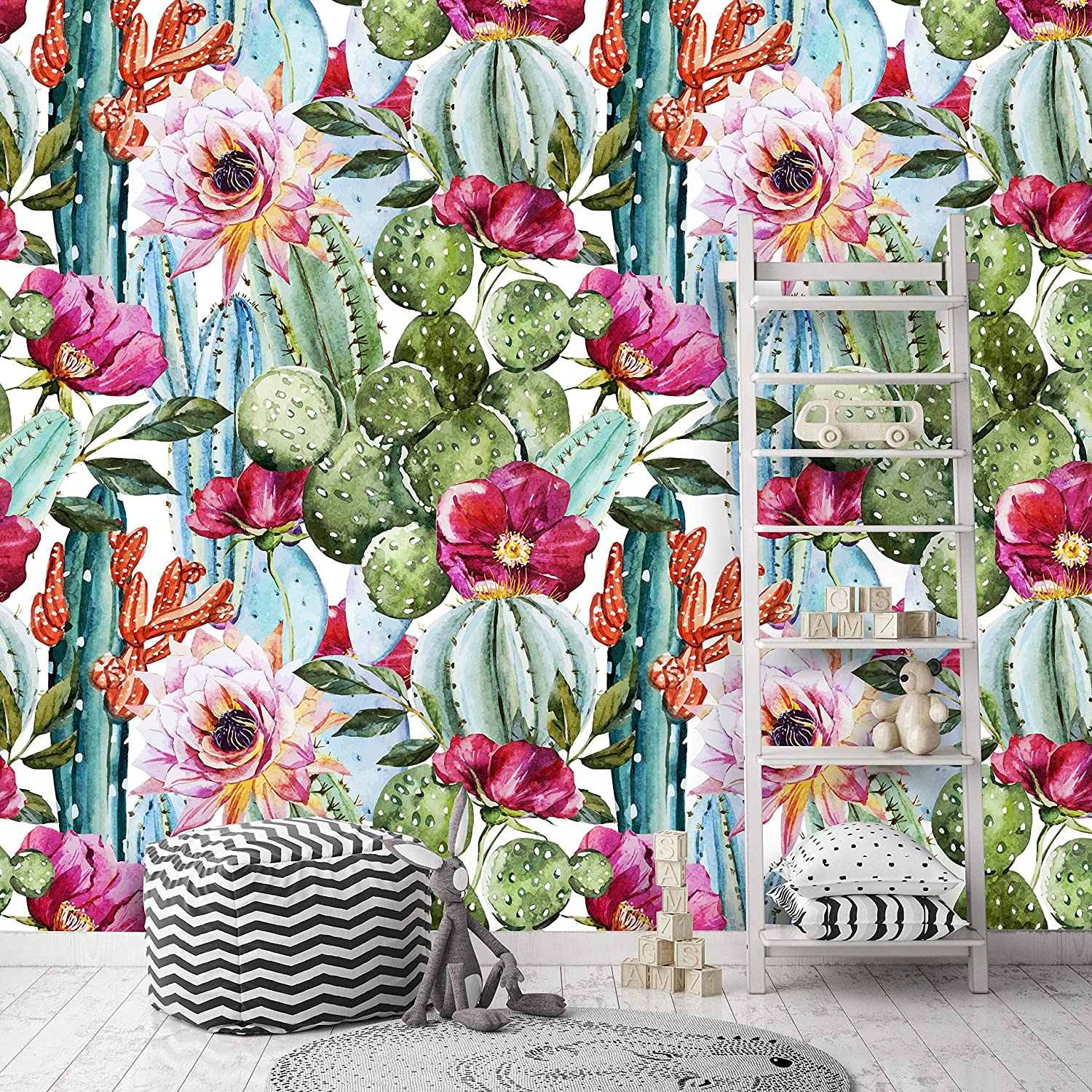 Removable Peel N Stick Wallpaper Self Adhesive Wall Mural Watercolor Tropical Pattern Nursery Decor Tropical Flowers Roses And Cactus 24 W X 60 H Inches Amazon Com