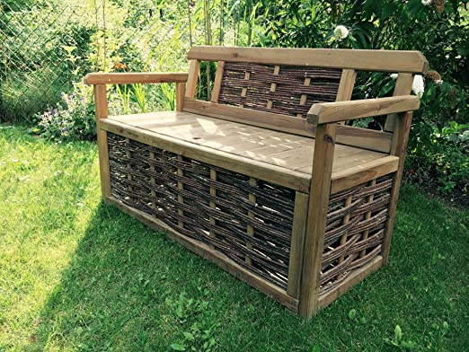 Banco de madera decorativo con baúl, 118 cm x 48 cm x 76 cm: Amazon.es: Hogar