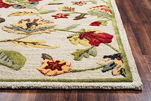 Rizzy Home Dimensions Collection Wool Area Rug, 9 x 12 , Khaki Gray Rust Blue Floral