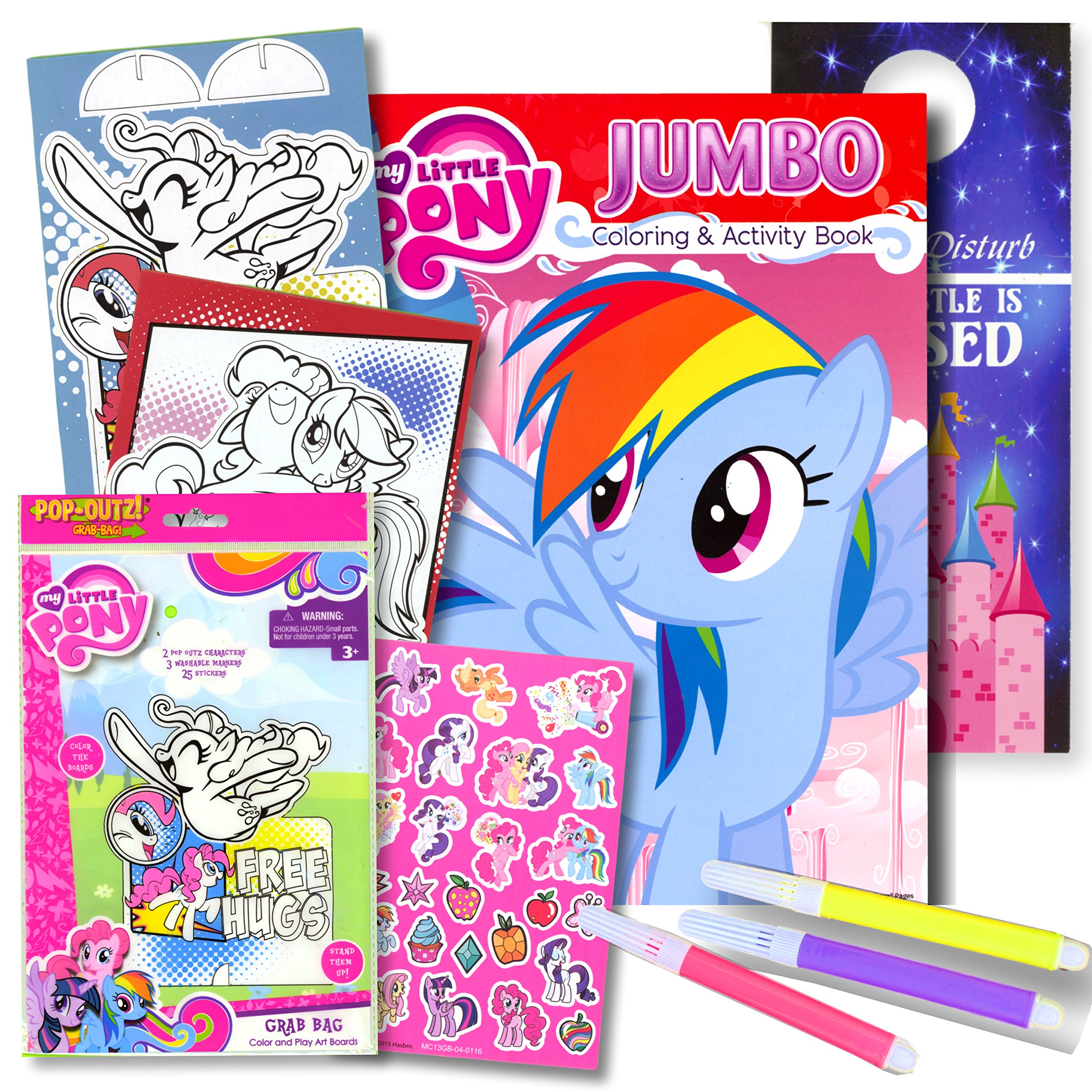 My little pony coloring book with take n play set 96 page coloring book my little pony stickers and markers