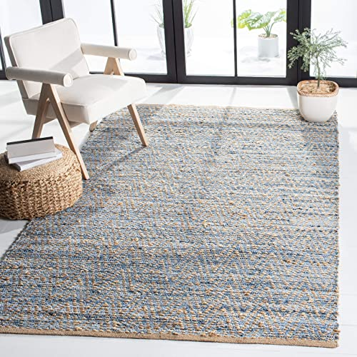Safavieh Cape Cod Collection CAP350A Hand Woven Flatweave Chevron Natural and Blue Jute Area Rug 11' x 15'