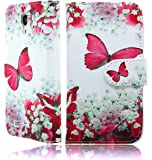 Samsung Galaxy S5 / i9600 Printed Pu Leather Book Magnetic Flip Wallet Case Cover Plus Screen Protector & Polishing Cloth (Flower Print)