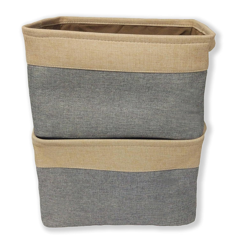 Qseven Paniers de rangement Grands paniers à linge pliables en coton ouverture vers le haut, Tissu, Beige+Brown (Two-Tone), 1 Piece