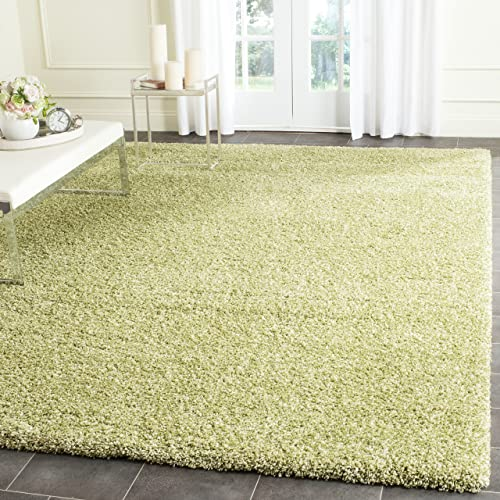 Safavieh Santa Monica Shag Collection SGN725-5252 Green Plush Area Rug 3 x 5