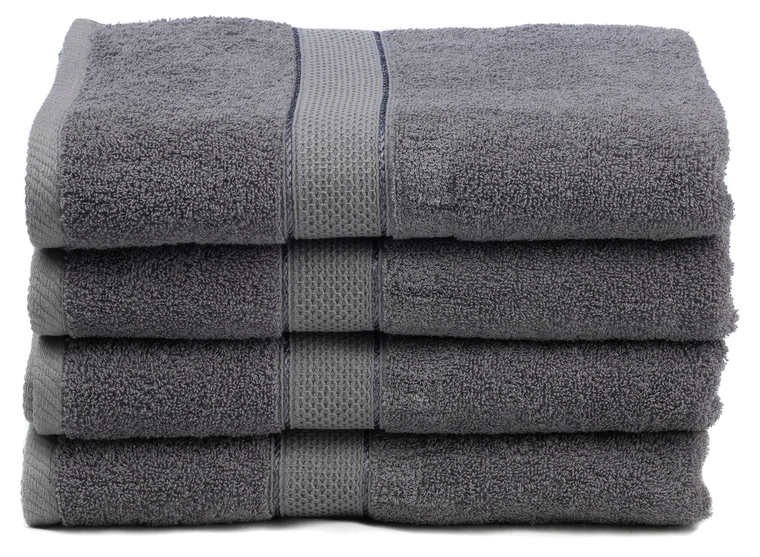 Ariv Collection Premium Bamboo Cotton Bath Towels - Natural, Ultra Absorbent and Eco-Friendly 30'' X 52'' (Grey)