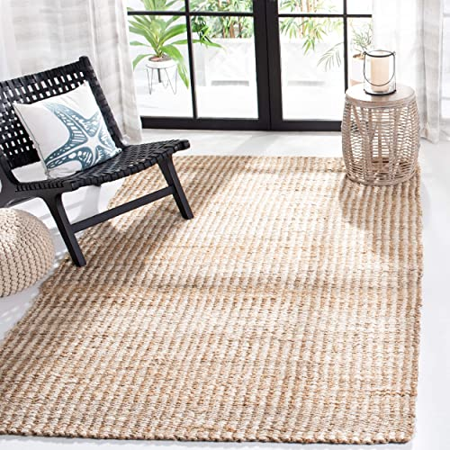 Safavieh Natural Fiber Collection NF734A Hand Woven Natural and Ivory Jute Area Rug 8' x 10'