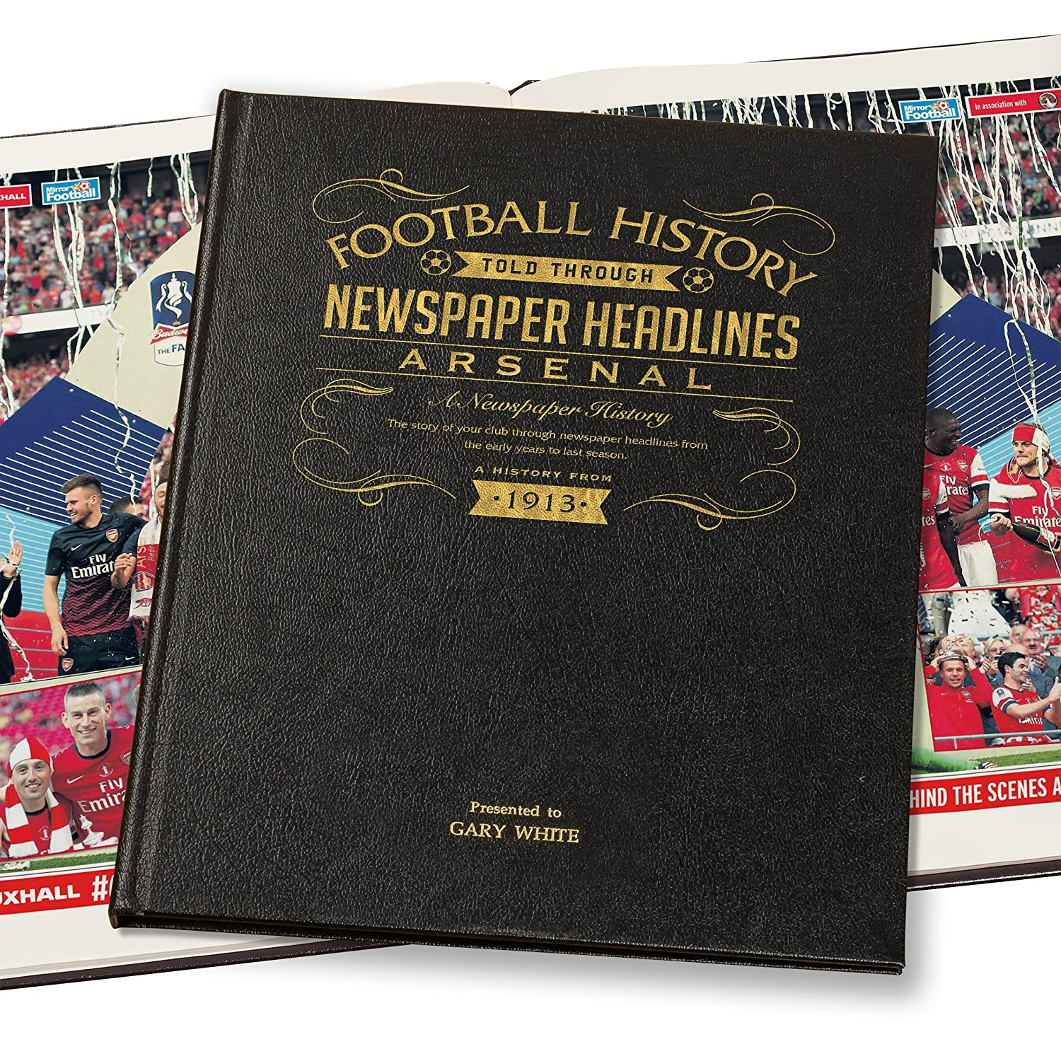 Signature gifts Arsenal Football Newspaper Book - Leather Black Cover Signature Gifts Ltd