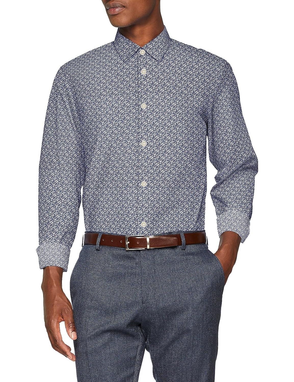 TALLA XXL. SELECTED HOMME Slhregpen-mar Shirt LS AOP B Noos, Camisa para Hombre