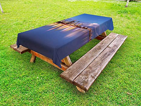 Terrific Amazon Com Lunarable Modern Outdoor Tablecloth Skyline Of Caraccident5 Cool Chair Designs And Ideas Caraccident5Info