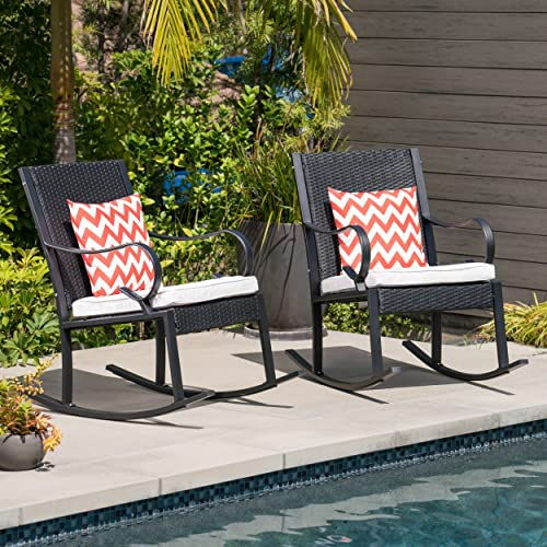 Christopher Knight Home 304354 Muriel Outdoor Wicker Rocking Chair Set of 2 , Black White Cushion