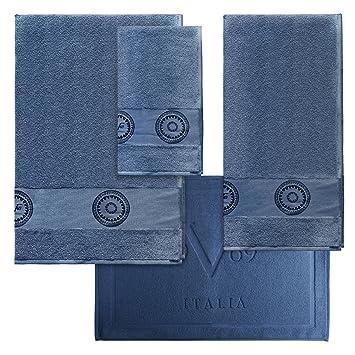 Set 3 Handtücher + Badteppich Versace 19 V69 Abbigliamento Sportivo SRL Blau