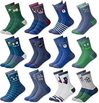 MC.TAM® Calcetines de Colores Medias Para Niños Niñas 12 Pares 90% Algodón Oeko Tex® Standard 100, 35-38, 12 pares FV003