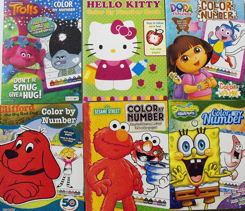 amazon com color by number 6 coloring book bundle trolls hello