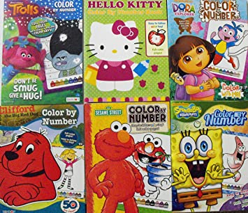 Color By Number 6 Coloring Book Bundle Trolls Hello Kitty Dora The Explorer Clifford