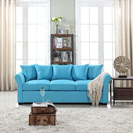 Wondrous Divano Roma Furniture Classic And Traditional Ultra Comfortable Linen Fabric Sofa Living Room Fabric Couch Sky Blue Home Interior And Landscaping Ponolsignezvosmurscom