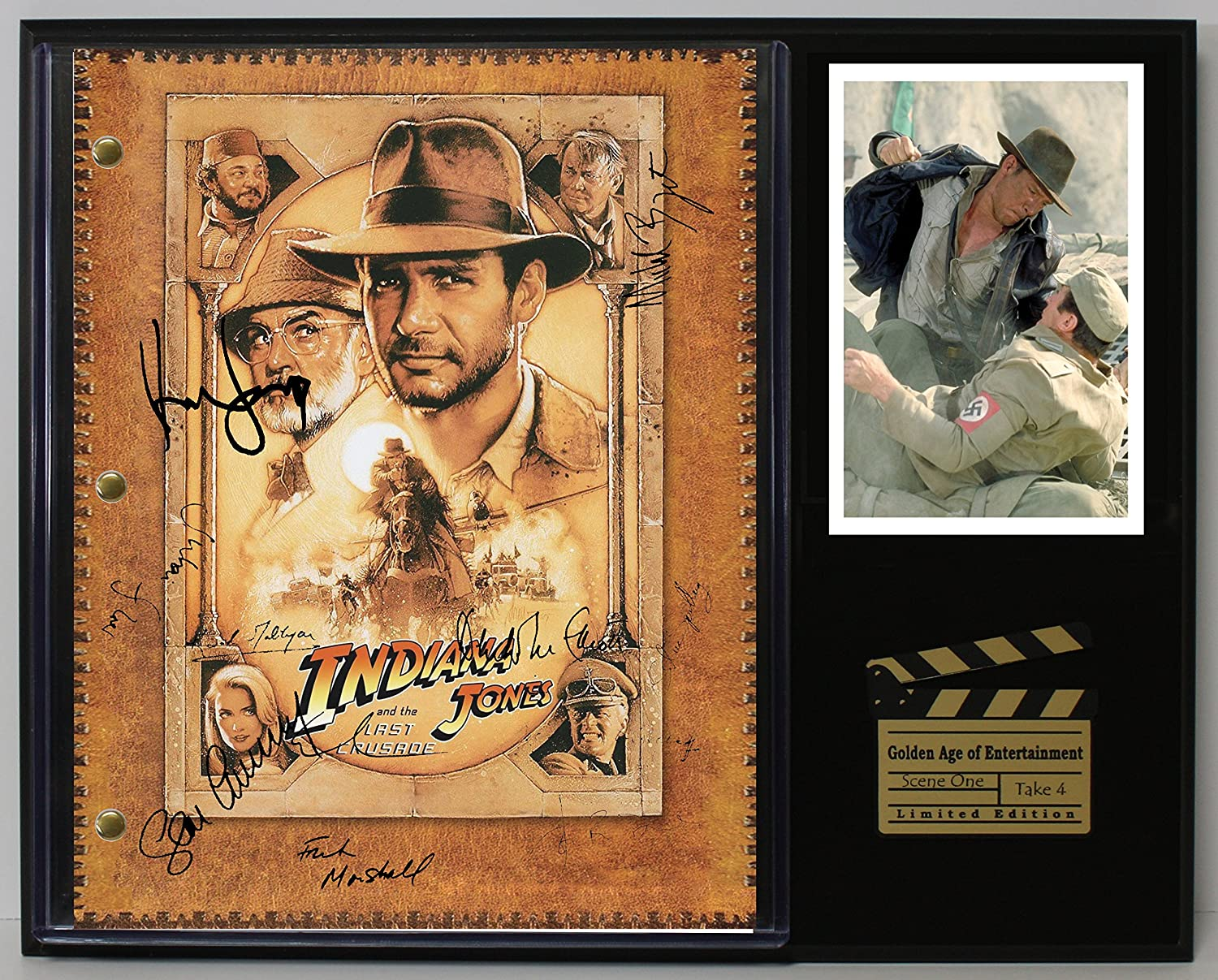 INDIANA JONES LTD EDITION REPRODUCTION SIGNED CINEMA SCRIPT DISPLAY'C3'