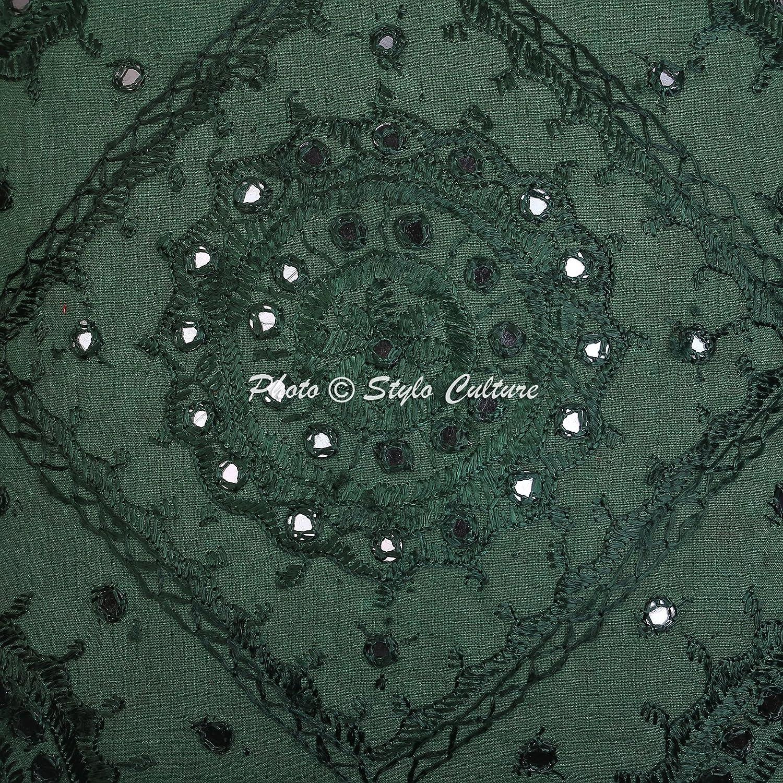 Stylo Culture Indio Mirror Bordado algod/ón Arrojar la Almohada Cubrir Verde 16x16 Coj/ín Abstracto
