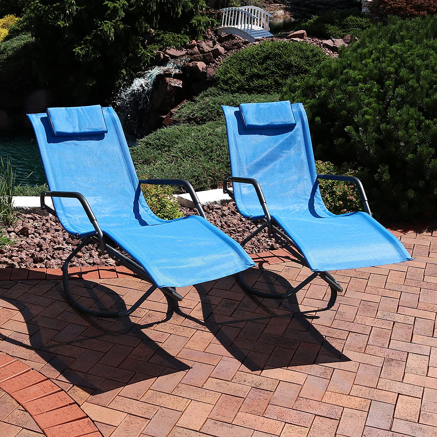 Sunnydaze Rocking Chaise Lounge Chair with Headrest Pillow, Outdoor Folding Patio Lounger, Blue, Set of 2