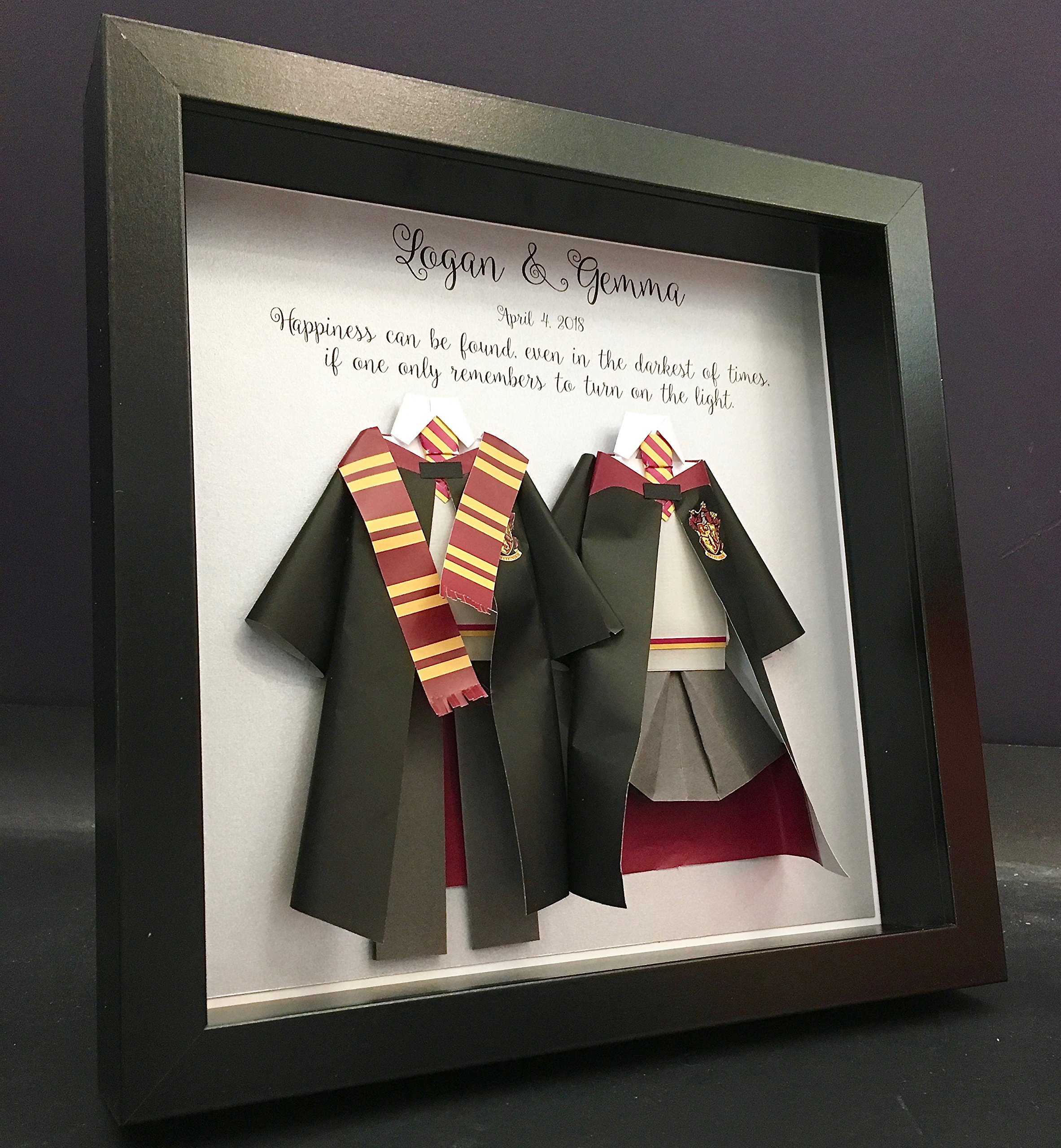 Personalized Wedding First Paper Anniversary Gift, Harry Potter and Hermione Paper Origami Bride & Groom Shadowbox Frame Wall Art Gift
