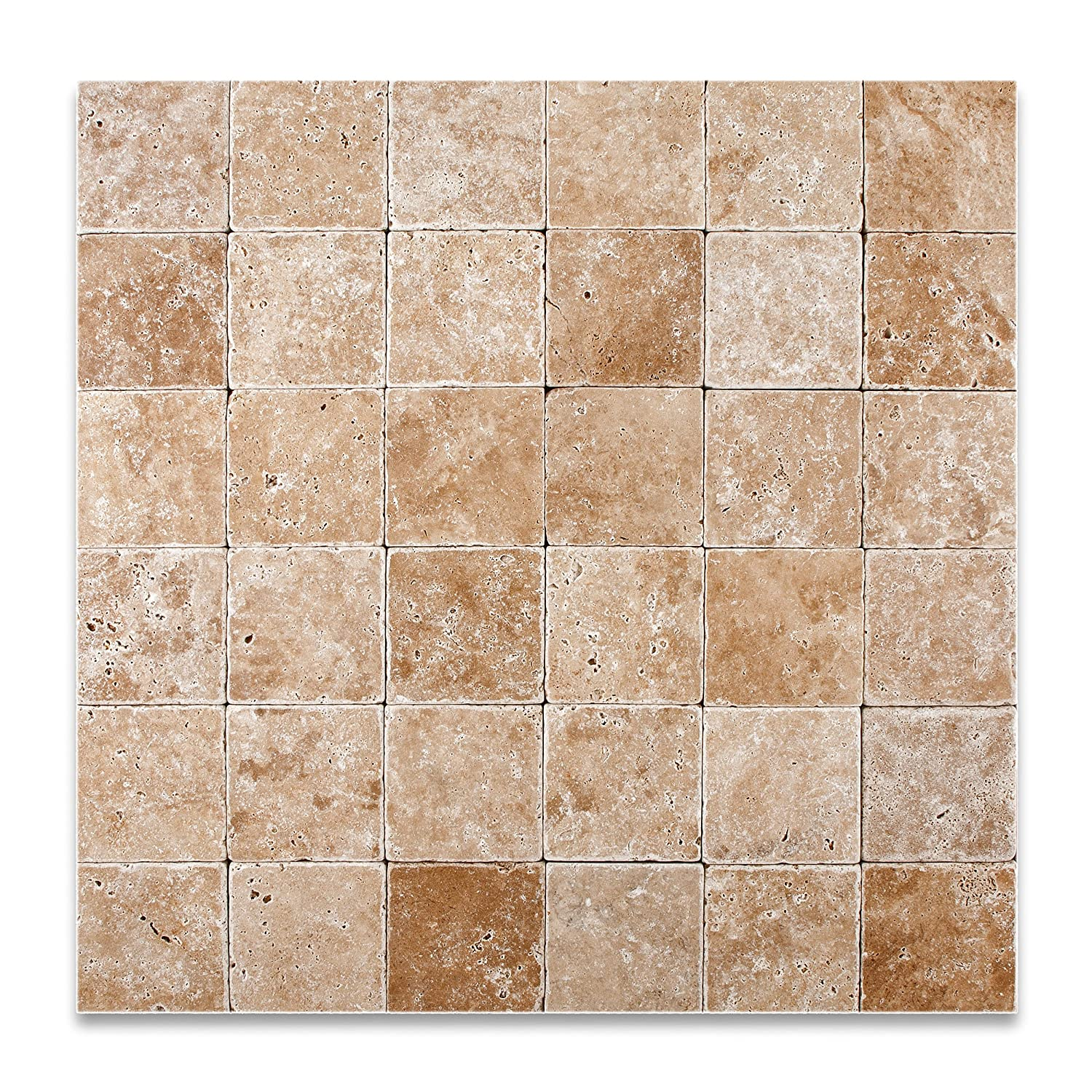 Walnut travertine 4 x 4 tumbled field tile 4 pcs sample set walnut travertine 4 x 4 tumbled field tile 4 pcs sample set marble tiles amazon dailygadgetfo Gallery