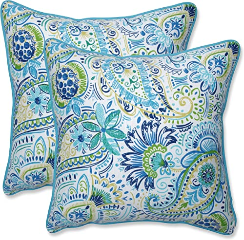 Pillow Perfect Outdoor Indoor Gilford Baltic Throw Pillows, 18.5 x 18.5 , Blue, 2 Pack