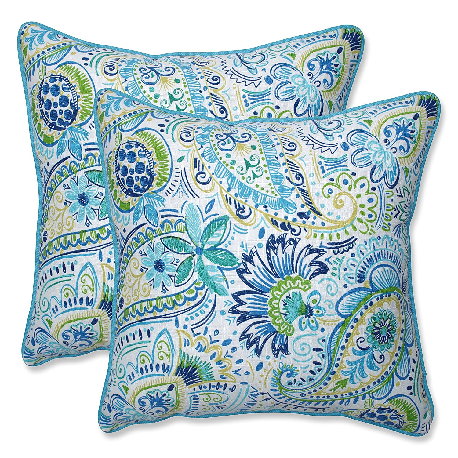 Pillow Perfect Outdoor Indoor Gilford Baltic 18.5-inch Throw Pillow Set of 2 , 2 Piece