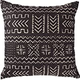 "Amazon Brand – Rivet Mudcloth-Inspired Decorative Throw Pillow, 17"" x 17"", Onyx Black"