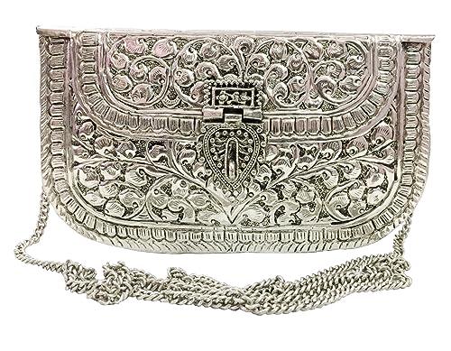 Embragues de metal blanco Monedero de latón hecho a mano de la vendimia Bolso de embrague de la mano para el embrague del partido de las mujeres Color ...