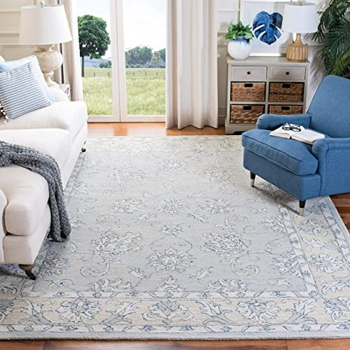 Safavieh Micro-Loop Collection MLP535M Handmade Wool Area Rug, 5 x 8 , Blue Beige