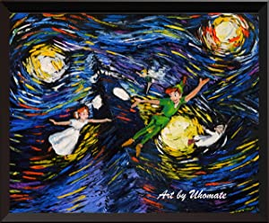 Uhomate Peter Pan Never Grow Up Princess Tinkerbell Vincent Van Gogh Starry Night Posters Home Canvas Wall Art Baby Gift Nursery Decor Living Room Wall Decor A032 (8X10)