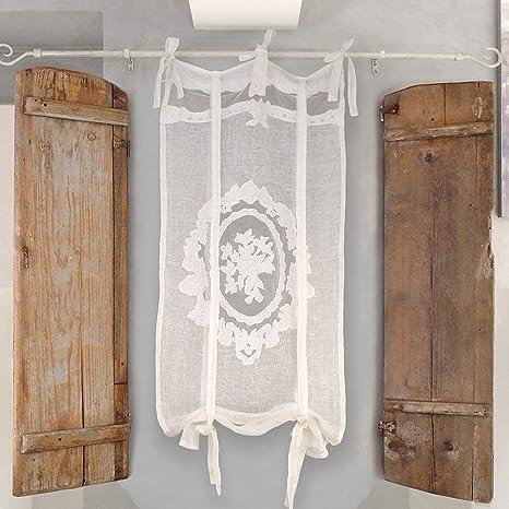 Blanc Mariclo Rideau Brise Bise Store Shabby Chic Et Romantique