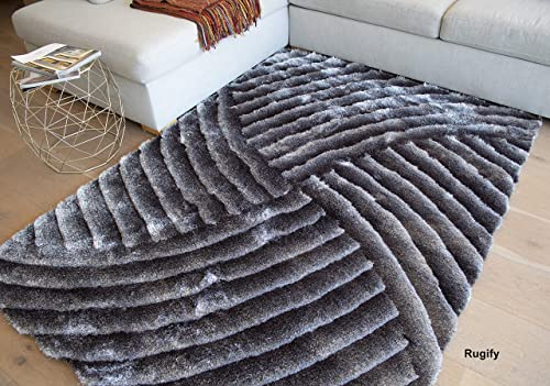 Light Gray Dark Gray Colors 5×7 Feet Area Rug Carpet Rug 3D Carved Shag Shaggy Furry Large Rectangular Decorative Designer Patterned Modern Contemporary Fuzzy Furry Bedroom Living Room Fuzzy Fluffy