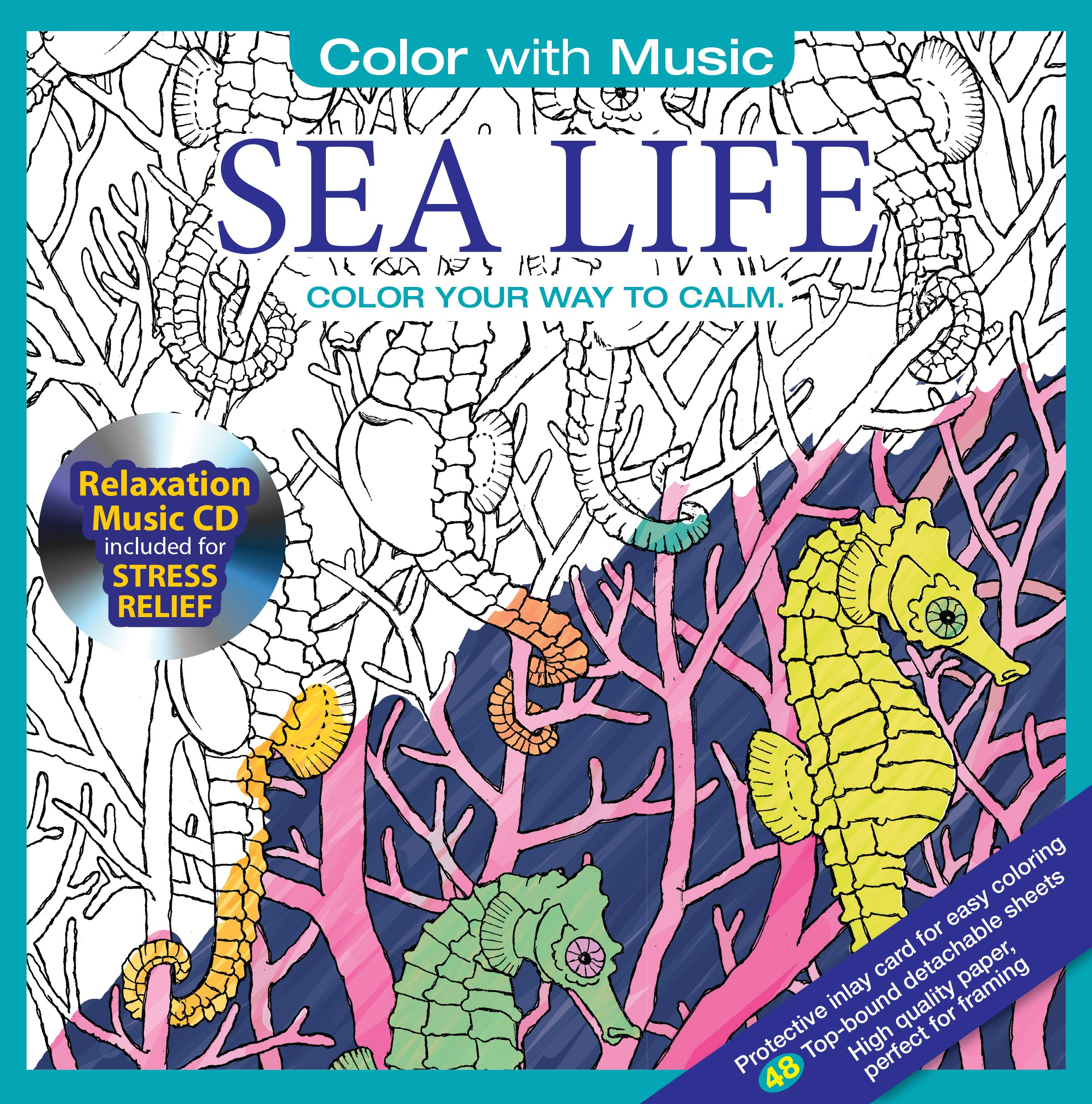Adult coloring books ebay - Amazon Com Sea Ocean Life Adult Coloring Book With Bonus Relaxation Music Cd Included Color With Music 9781988137001 Newbourne Media Books