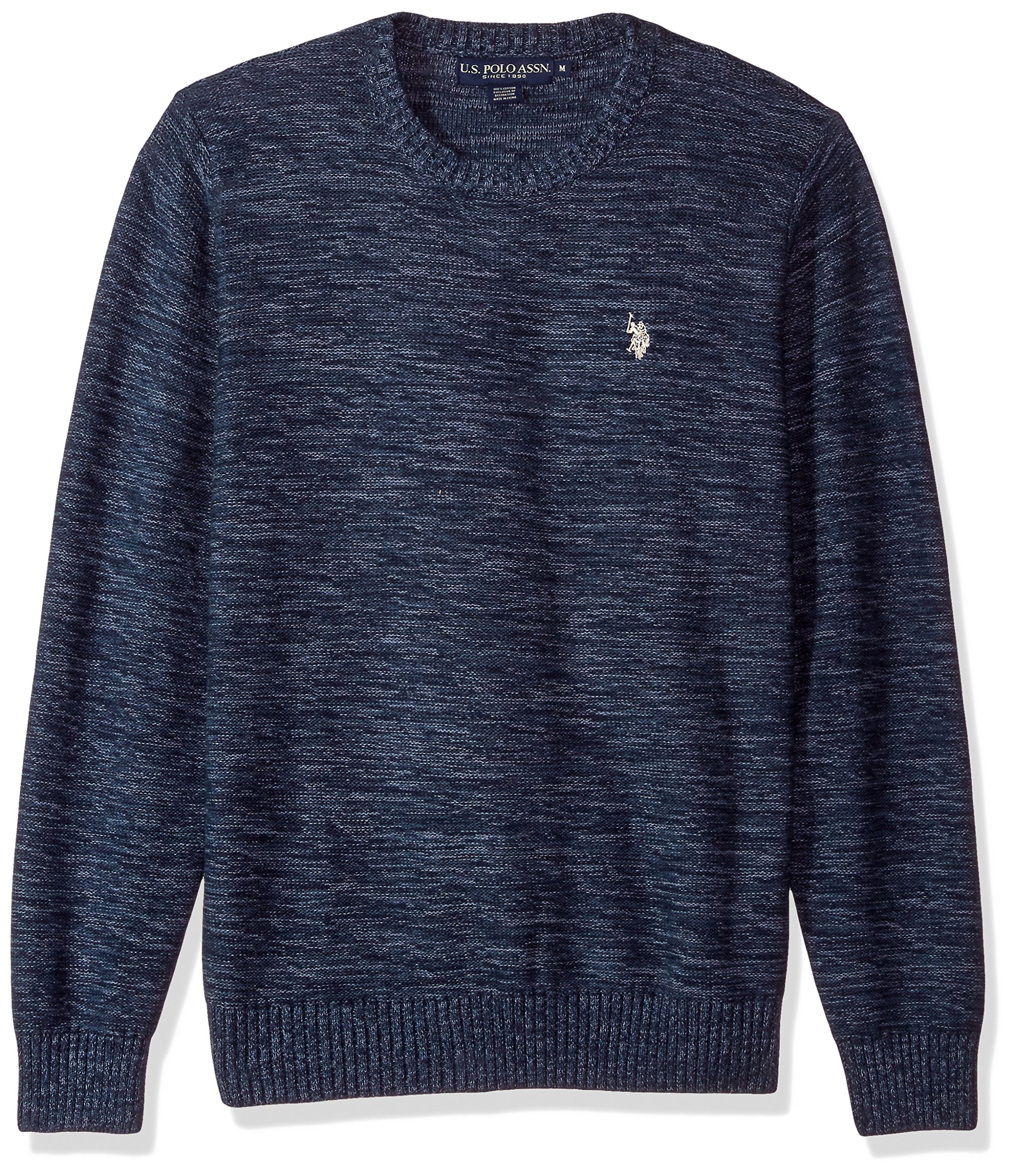 U.S. Polo Assn. Men's MARL Reverse Jersey Crew Neck Sweater, Azul MARL, Medium