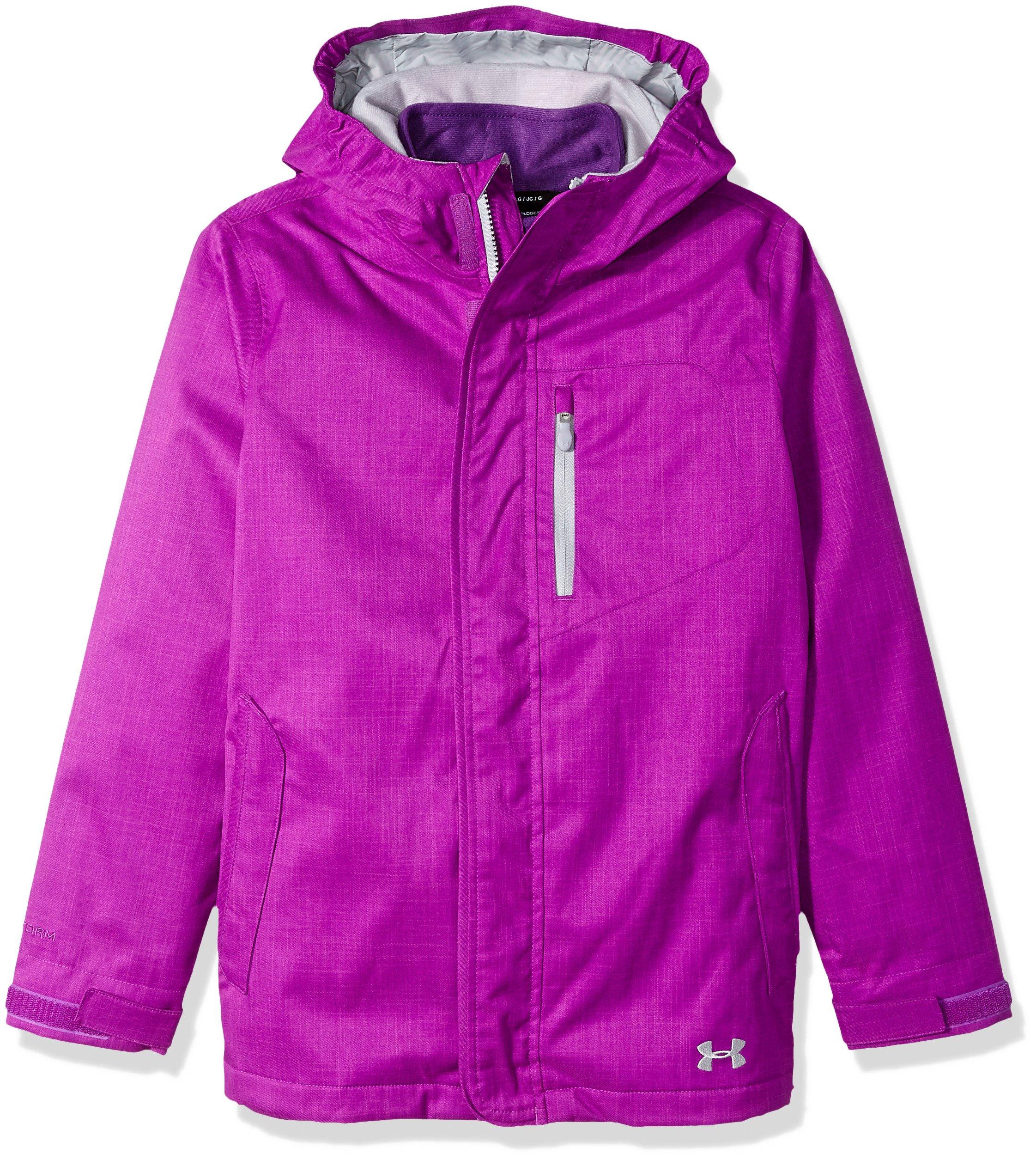 Under Armour Girls' ColdGear Infrared Gemma 3-in-1 Jacket, Purple Rave/Overcast Gray, Youth Medium