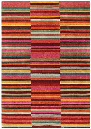 372b20fcf55dc Moderne tapis design 120 x 180 cm JAUDY Stripe Tapis Rouge Multicolore  Multicolor Rouge 100%