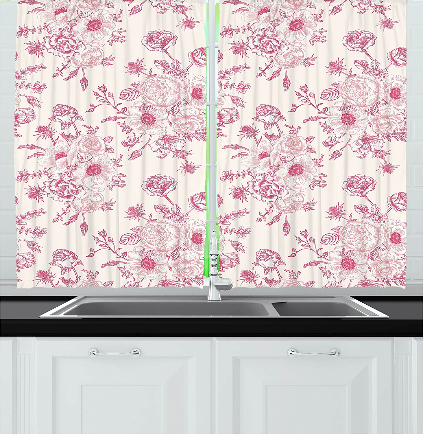 """Ambesonne Floral Kitchen Curtains, Romantic Rose Flower Bouquet Blooms in Soft Pastel Tones Botanical Rococo Design, Window Drapes 2 Panel Set for Kitchen Cafe Decor, 55"""" X 39"""", Pink"""