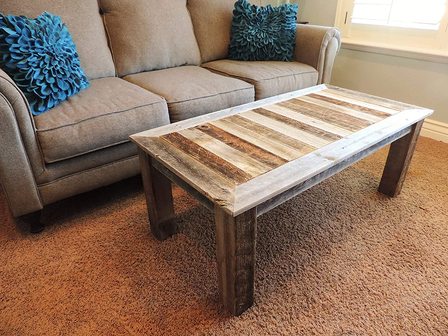 Amazon Com Rustic Reclaimed Wood Coffee Table Solid Natural