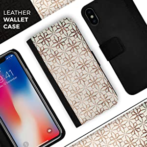 Grunge Tangerine Flower Tiles iPhone Leather Folding Credit Card / Wallet Case - IPhone 8+ or 7+