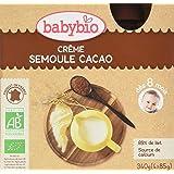 Babybio Gourde Crème Semoule Cacao 8+ Mois 340 g - Lot de 3