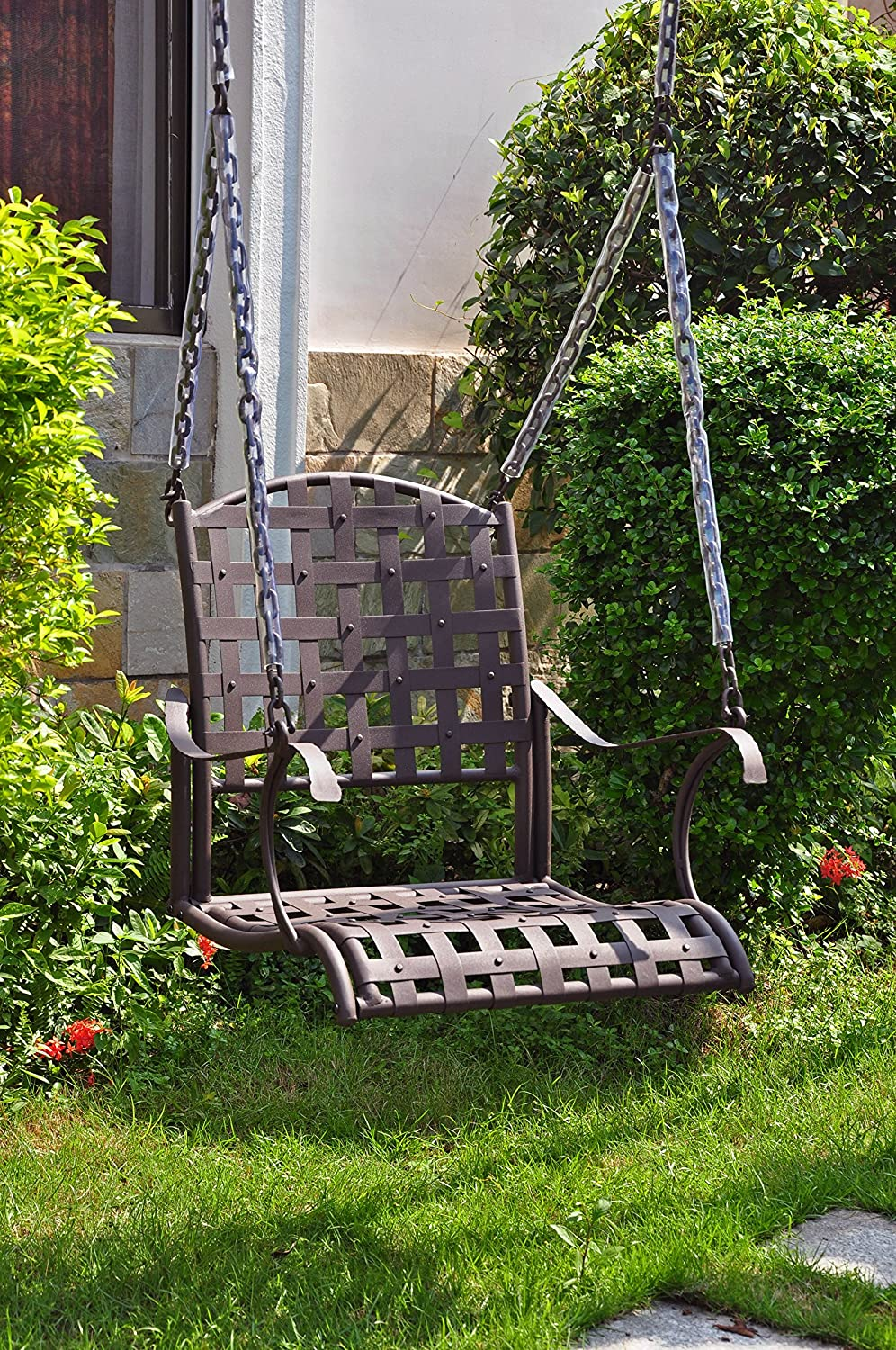 International Caravan Santa Fe Iron Patio Swing in Matte Brown